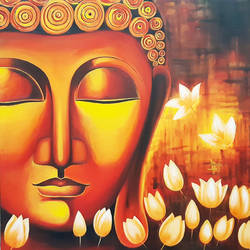 buddha, 48 x 48 inch, shikha gupta,48x48inch,canvas,paintings,buddha paintings,paintings for dining room,paintings for living room,paintings for office,paintings for hotel,paintings for hospital,acrylic color,GAL02817739913