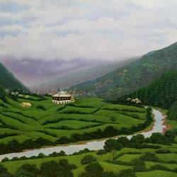 mountain paradise, 36 x 24 inch, sudarshan goswami,36x24inch,hardboard,paintings,landscape paintings,paintings for living room,paintings for bedroom,paintings for office,paintings for kids room,paintings for hotel,paintings for hospital,acrylic color,GAL02619239928