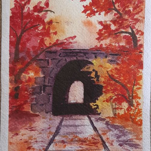 painting of tunnel in autumn season, 7 x 10 inch, aryan patil,7x10inch,handmade paper,paintings,landscape paintings,watercolor,GAL02826339932
