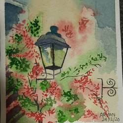 street light painting with tree, 6 x 9 inch, aryan patil,6x9inch,handmade paper,paintings,landscape paintings,watercolor,GAL02826339933