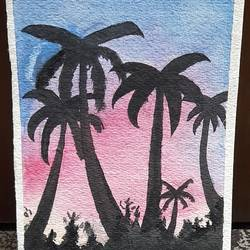 watercolor painting of palm trees, 7 x 10 inch, aryan patil,7x10inch,handmade paper,paintings,landscape paintings,watercolor,GAL02826339935