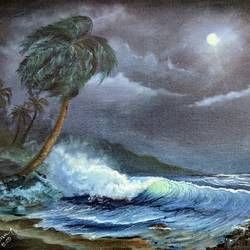 moonlight , 16 x 20 inch, krishna ghosh,16x20inch,canvas,nature paintings | scenery paintings,oil color,GAL02828839937