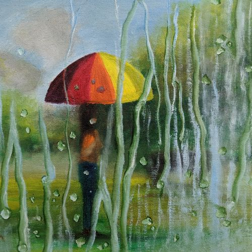 misty rain, 12 x 10 inch, krishna ghosh,12x10inch,canvas board,paintings,conceptual paintings,abstract expressionism paintings,oil color,GAL02828839938