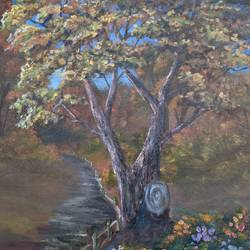 the tree, 16 x 20 inch, krishna ghosh,16x20inch,canvas board,paintings,landscape paintings,oil color,GAL02828839939
