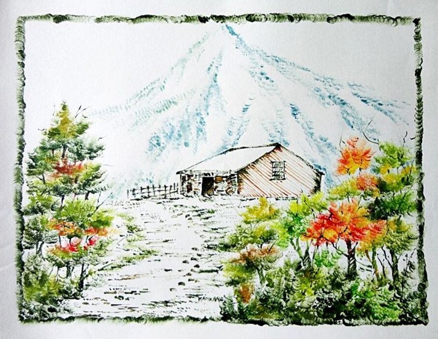 the nature 44, 35 x 28 inch, kankana  pal,nature paintings,paintings for living room,paper,mixed media,35x28inch,GAL08333994Nature,environment,Beauty,scenery,greenery,snow,trees,beautiful