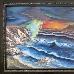 sunset waves, 17 x 19 inch, krishna ghosh,17x19inch,canvas board,paintings,nature paintings | scenery paintings,oil color,GAL02828839941