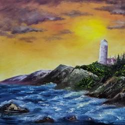 lighthouse, 16 x 20 inch, krishna ghosh,16x20inch,canvas board,paintings,nature paintings | scenery paintings,oil color,GAL02828839942