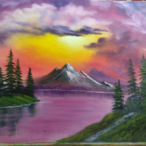 purple hues, 16 x 20 inch, krishna ghosh,16x20inch,canvas,landscape paintings,nature paintings | scenery paintings,oil color,GAL02828839945