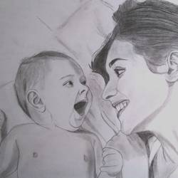 mother and child, 18 x 24 inch, jayakumar mahalingam,18x24inch,thick paper,drawings,realism drawings,graphite pencil,GAL02829839948