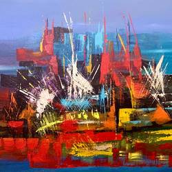 the city in sky, 30 x 20 inch, pushpa nath jha,30x20inch,canvas,abstract paintings,paintings for dining room,paintings for living room,paintings for office,paintings for dining room,paintings for living room,paintings for office,acrylic color,GAL01805639953