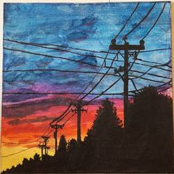 watercolor painting of sunset with street light, 9 x 9 inch, aryan patil,9x9inch,canvas,paintings,landscape paintings,nature paintings | scenery paintings,acrylic color,GAL02826339955