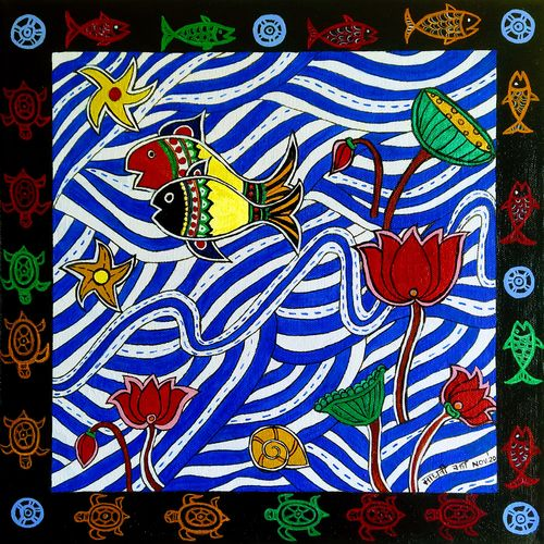 madhubani fish pond, 12 x 12 inch, madhavi jha,12x12inch,canvas,paintings,wildlife paintings,flower paintings,folk art paintings,nature paintings | scenery paintings,animal paintings,children paintings,kids paintings,madhubani paintings | madhubani art,paintings for dining room,paintings for living room,paintings for bedroom,paintings for office,paintings for bathroom,paintings for kids room,paintings for hotel,paintings for kitchen,paintings for school,paintings for hospital,acrylic color,GAL02713239956