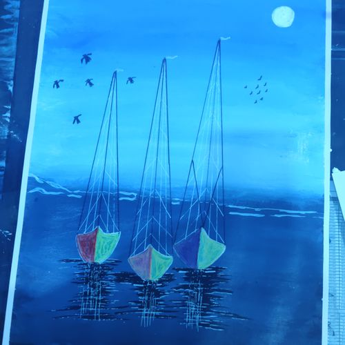 3 boats in night , 18 x 15 inch, arvind kumar gupta,18x15inch,drawing paper,paintings,nature paintings | scenery paintings,abstract expressionism paintings,realism paintings,realistic paintings,paintings for dining room,paintings for living room,paintings for bedroom,paintings for kids room,paintings for hotel,paintings for kitchen,paintings for school,paintings for hospital,acrylic color,paper,GAL02596639960