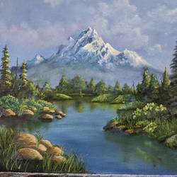mountain view, 16 x 20 inch, krishna ghosh,16x20inch,canvas,landscape paintings,nature paintings | scenery paintings,paintings for living room,paintings for office,paintings for living room,paintings for office,oil color,GAL02828839979