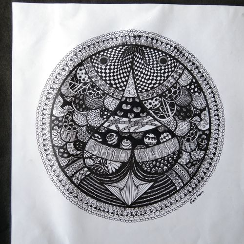 coupled fish, 12 x 12 inch, srimonti dutta,12x12inch,drawing paper,drawings,folk drawings,paintings for dining room,paintings for bedroom,ball point pen,GAL02833839989