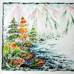 the nature 48, 35 x 28 inch, kankana  pal,nature paintings,paintings for living room,paper,mixed media,35x28inch,GAL08333999Nature,environment,Beauty,scenery,greenery,ice,snow,mountain,trees,leaves