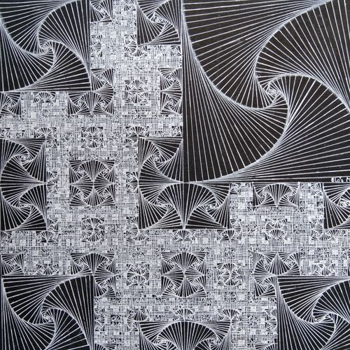 entangled:symmetry in complexity, 12 x 12 inch, srimonti dutta,12x12inch,thick paper,drawings,abstract drawings,paintings for living room,paintings for office,paintings for hotel,paintings for hospital,ball point pen,GAL02833839991
