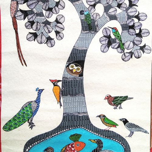 tree of life: a birdwatcher's perspective, 12 x 24 inch, srimonti dutta,12x24inch,handmade paper,paintings,wildlife paintings,folk art paintings,nature paintings | scenery paintings,gond painting.,paintings for dining room,paintings for living room,paintings for bedroom,paintings for office,paintings for hotel,paintings for school,paintings for hospital,acrylic color,GAL02833839993