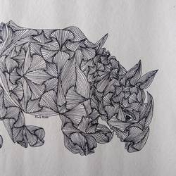 the rhino, 18 x 14 inch, srimonti dutta,18x14inch,handmade paper,drawings,abstract drawings,art deco drawings,conceptual drawings,modern drawings,paintings for living room,paintings for bedroom,paintings for office,paintings for hotel,paintings for school,paintings for hospital,ink color,GAL02833839996