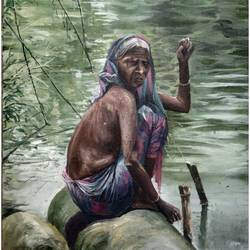 village woman, 22 x 13 inch, soyli saha,22x13inch,cartridge paper,paintings,abstract paintings,paintings for dining room,paintings for living room,paintings for bedroom,paintings for office,paintings for bathroom,paintings for kids room,paintings for hotel,paintings for kitchen,paintings for school,paintings for hospital,watercolor,GAL0606539997