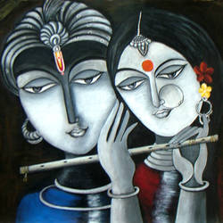 divine soul mates- radha krishna, 32 x 22 inch, neeraj parswal,paintings for living room,conceptual paintings,radha krishna paintings,canvas,acrylic color,32x22inch,GAL014