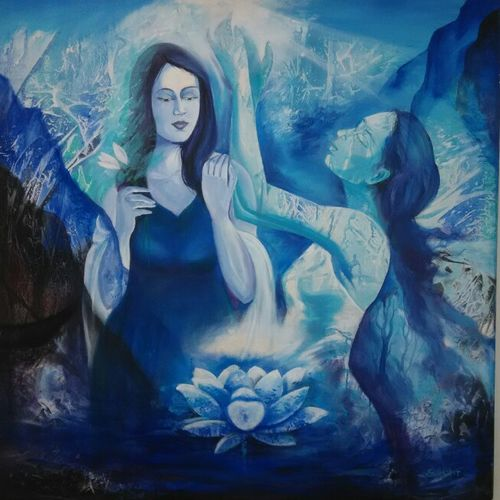 dream, 36 x 36 inch, sushil  tarbar ,figurative paintings,paintings for bedroom,canvas,acrylic color,36x36inch,GAL0144400