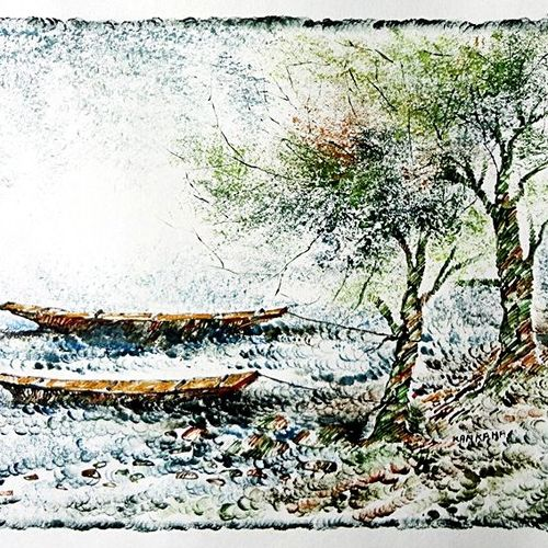 the nature 49, 35 x 28 inch, kankana  pal,nature paintings,paintings for living room,paper,mixed media,35x28inch,GAL08334000Nature,environment,Beauty,scenery,greenery