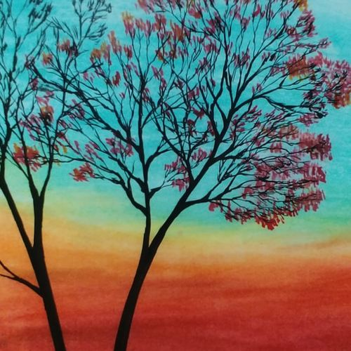 blossoms, 12 x 17 inch, sooraj p,12x17inch,ivory sheet,paintings,flower paintings,portrait paintings,nature paintings | scenery paintings,paintings for dining room,paintings for living room,paintings for bedroom,paintings for office,pastel color,GAL02816340003