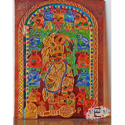hanuman glass painting, 7 x 9 inch, puja k,7x9inch,acrylic glass,paintings,religious paintings,paintings for living room,paintings for hospital,glass,GAL02756540010