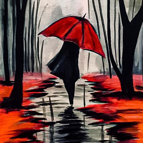 red umbrella , 18 x 30 inch, siddharth  garg,18x30inch,canvas,paintings,abstract paintings,acrylic color,GAL02836040011