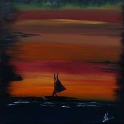 sunset, 12 x 16 inch, madhumita n,12x16inch,canvas,paintings,nature paintings | scenery paintings,paintings for dining room,paintings for living room,paintings for bedroom,paintings for office,paintings for bathroom,paintings for kids room,acrylic color,GAL02832940017