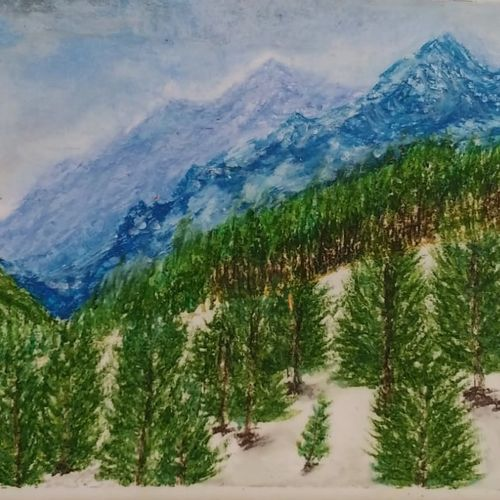 manali, 12 x 8 inch, sooraj p,12x8inch,thick paper,paintings,landscape paintings,nature paintings | scenery paintings,photorealism,paintings for dining room,paintings for living room,paintings for bedroom,paintings for office,paintings for hotel,pastel color,GAL02816340022