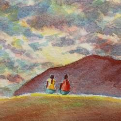 enjoying sunset, 7 x 5 inch, ajay anand,7x5inch,handmade paper,paintings,landscape paintings,nature paintings | scenery paintings,impressionist paintings,love paintings,paintings for living room,paintings for bedroom,paintings for bathroom,paintings for hotel,watercolor,GAL01783940026