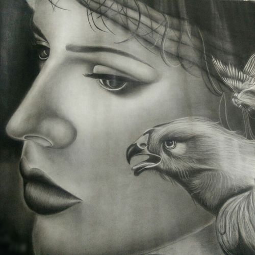 eagle eyes, 75 x 45 inch, kajal saxena,paintings for office,animal paintings,thick paper,charcoal,75x45inch,GAL014454003