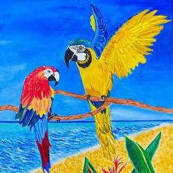 the green parrot, 16 x 20 inch, upma bawa,16x20inch,canvas,wildlife paintings,paintings for dining room,paintings for living room,paintings for office,acrylic color,GAL02836740030