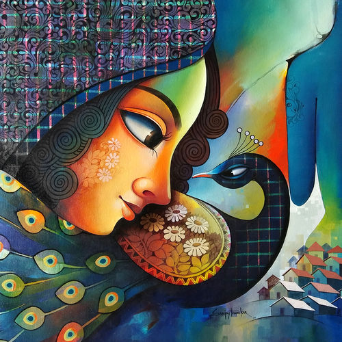 fusion 4, 41 x 35 inch, sanjay  tandekar ,41x35inch,canvas,paintings,modern art paintings,contemporary paintings,love paintings,paintings for dining room,paintings for living room,paintings for bedroom,paintings for office,paintings for hotel,acrylic color,GAL0281040035