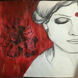 durga lives in every woman, 35 x 25 inch, kajal saxena,paintings for living room,religious paintings,paper,acrylic color,35x25inch,GAL014454004