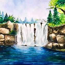 forest waterfall 1, 23 x 33 inch, sowmika anjuru,23x33inch,renaissance watercolor paper,landscape paintings,nature paintings | scenery paintings,paintings for living room,paintings for bedroom,paintings for school,paintings for hospital,paintings for living room,paintings for bedroom,paintings for school,paintings for hospital,watercolor,paper,GAL02829540043