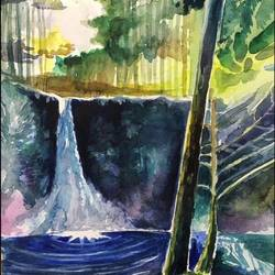 abstract forest waterfall 2, 17 x 21 inch, sowmika anjuru,17x21inch,renaissance watercolor paper,paintings,abstract paintings,landscape paintings,nature paintings | scenery paintings,paintings for living room,paintings for bedroom,paintings for office,paintings for kids room,paintings for hotel,paintings for kitchen,paintings for school,paintings for hospital,watercolor,GAL02829540045