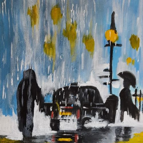 rainy day-painitng, 15 x 19 inch, tovisha taneja,15x19inch,canvas,paintings,abstract paintings,modern art paintings,paintings for dining room,paintings for living room,paintings for bedroom,paintings for office,paintings for bathroom,paintings for kids room,paintings for hotel,paintings for kitchen,paintings for school,paintings for hospital,acrylic color,GAL01105940053