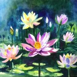 abstract lotus pond, 33 x 23 inch, sowmika anjuru,33x23inch,renaissance watercolor paper,paintings,abstract paintings,flower paintings,paintings for dining room,paintings for living room,paintings for bedroom,paintings for office,paintings for hotel,paintings for school,paintings for hospital,watercolor,paper,GAL02829540061
