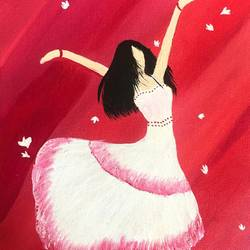 ballerina dancer, 8 x 12 inch, ruchi chandra verma,8x12inch,canvas,paintings,figurative paintings,paintings for living room,paintings for bedroom,paintings for kids room,acrylic color,GAL02794540063