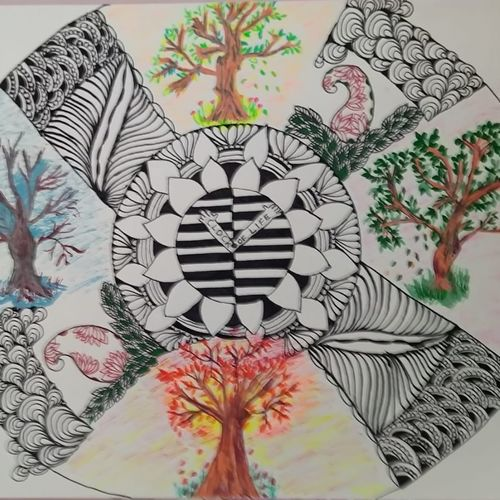 life zentangle, 12 x 16 inch, deepika manohar,12x16inch,cartridge paper,drawings,abstract drawings,illustration drawings,modern drawings,paintings for living room,paintings for office,paintings for hotel,paintings for school,paintings for hospital,pen color,paper,GAL02791040069