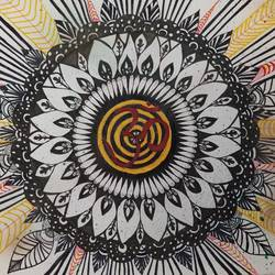 aum mandala zentangle, 12 x 16 inch, deepika manohar,12x16inch,cartridge paper,drawings,conceptual drawings,modern drawings,paintings for living room,paintings for office,paintings for hotel,paintings for school,paintings for hospital,pen color,paper,GAL02791040070