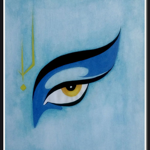 eye of lord krishna, 11 x 13 inch, nitesh suthar,religious paintings,paintings for living room,radha krishna paintings,thick paper,watercolor,11x13inch,GAL08464008