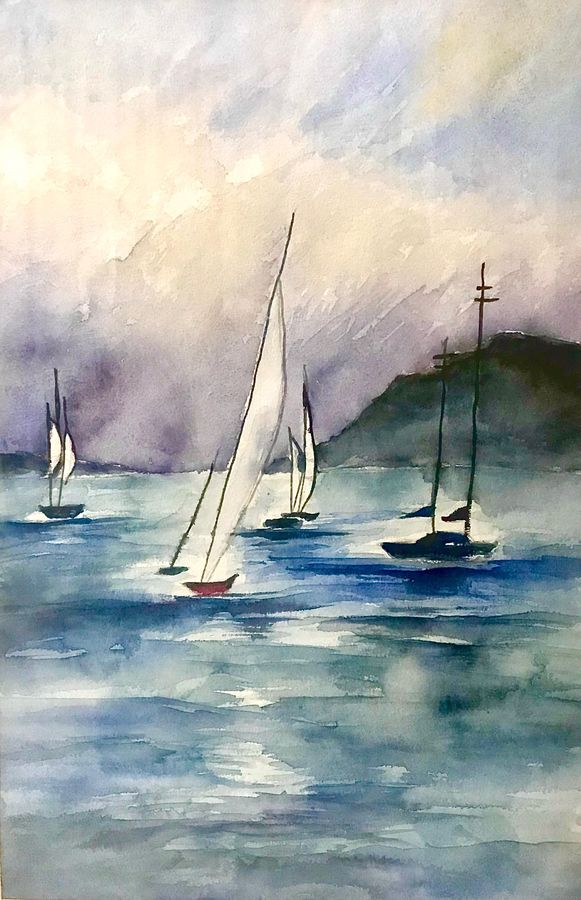 boats, 19 x 26 inch, sowmika anjuru,19x26inch,handmade paper,paintings,abstract paintings,nature paintings | scenery paintings,paintings for dining room,paintings for living room,paintings for bedroom,paintings for office,paintings for hotel,paintings for kitchen,paintings for school,paintings for hospital,watercolor,paper,GAL02829540088