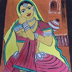 rajasthani women, 12 x 16 inch, khushbu shah,12x16inch,thick paper,drawings,abstract drawings,paintings for dining room,paintings for living room,paintings for bedroom,paintings for hotel,paintings for hospital,acrylic color,paper,GAL02783940089