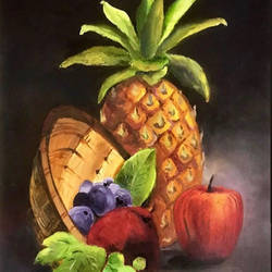 fruit basket, 10 x 14 inch, sowmika anjuru,10x14inch,oil sheet,paintings,conceptual paintings,still life paintings,paintings for dining room,paintings for living room,paintings for kids room,paintings for hotel,paintings for kitchen,paintings for hospital,oil color,paper,GAL02829540091