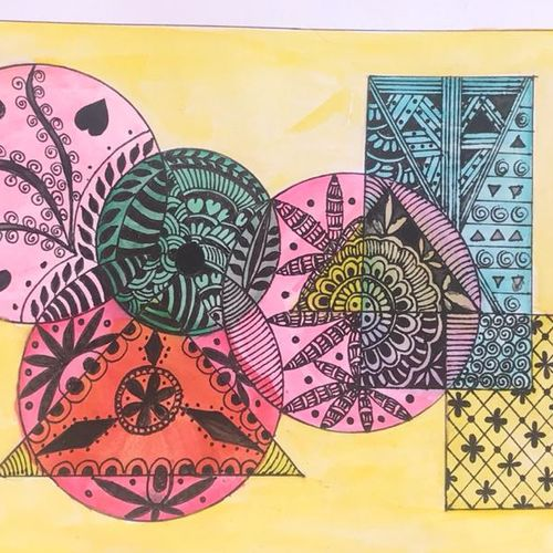 mandala art + geometrical shapes, 8 x 11 inch, anchal sharma,8x11inch,brustro watercolor paper,drawings,abstract drawings,paintings for dining room,paintings for living room,paintings for office,paintings for kids room,paintings for hotel,paintings for school,paintings for hospital,watercolor,paper,GAL02841540098