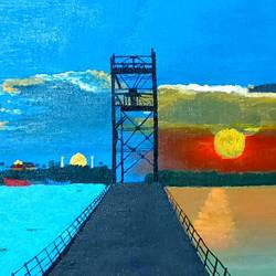 the harbor bridge , 16 x 12 inch, isaac illikal,16x12inch,canvas,paintings,landscape paintings,paintings for dining room,paintings for living room,paintings for bedroom,paintings for office,acrylic color,GAL02842240099